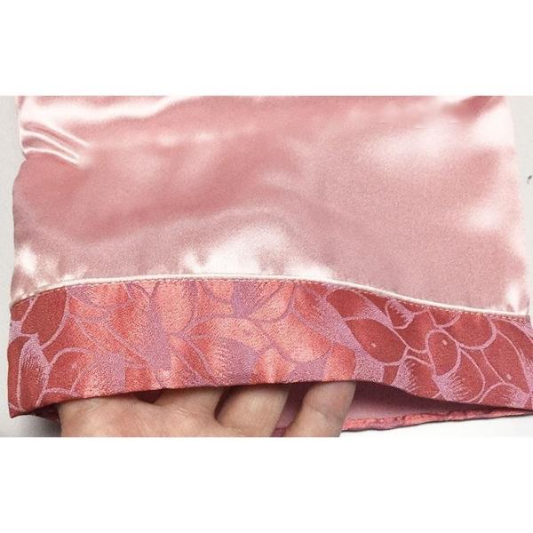 シルクパジャマ レディース 高密度 サテン 厚手 プレゼント ギフト ローズピンク 絹100% 葉模様ジャガード織|yumekairo|11