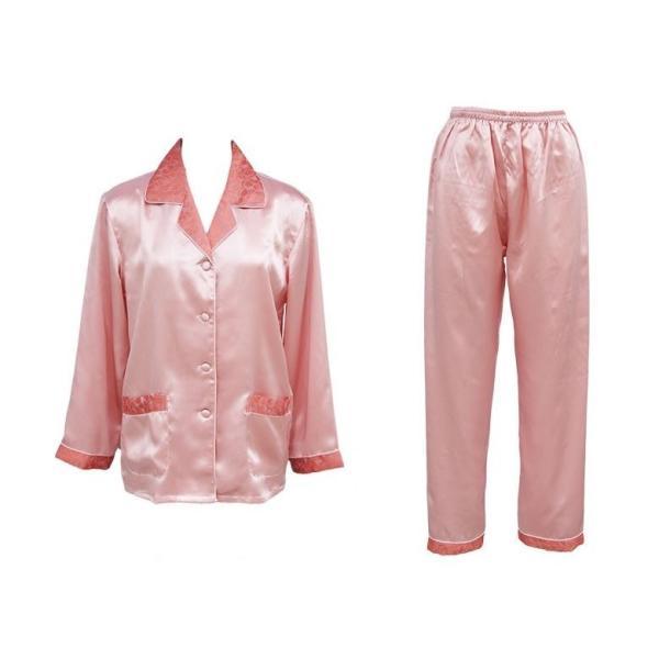 シルクパジャマ レディース 高密度 サテン 厚手 プレゼント ギフト ローズピンク 絹100% 葉模様ジャガード織|yumekairo|14