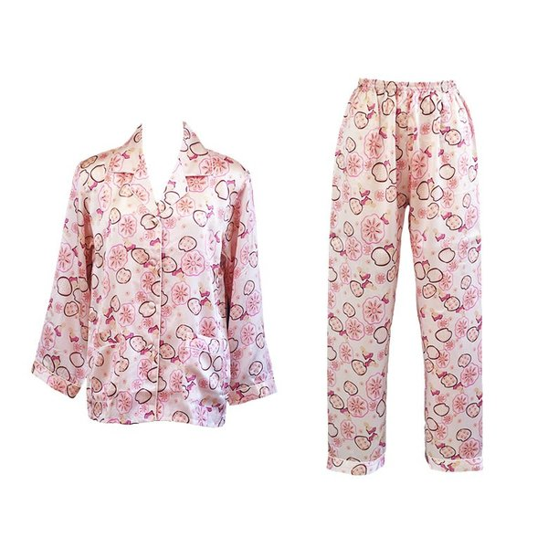 シルクパジャマ 花柄 ピンク シルク100% 絹 長袖 フラワーシャワー レディース 前開き 上下セット 安眠 ナイトウェア ルームウェア 送料無料|yumekairo|12