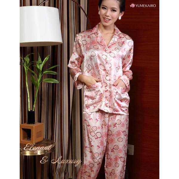 シルクパジャマ 花柄 ピンク シルク100% 絹 長袖 フラワーシャワー レディース 前開き 上下セット 安眠 ナイトウェア ルームウェア 送料無料|yumekairo|04