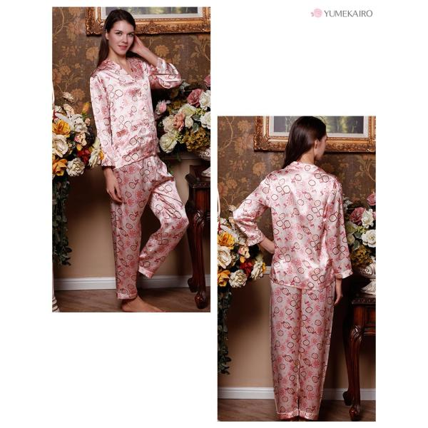 シルクパジャマ 花柄 ピンク シルク100% 絹 長袖 フラワーシャワー レディース 前開き 上下セット 安眠 ナイトウェア ルームウェア 送料無料|yumekairo|07