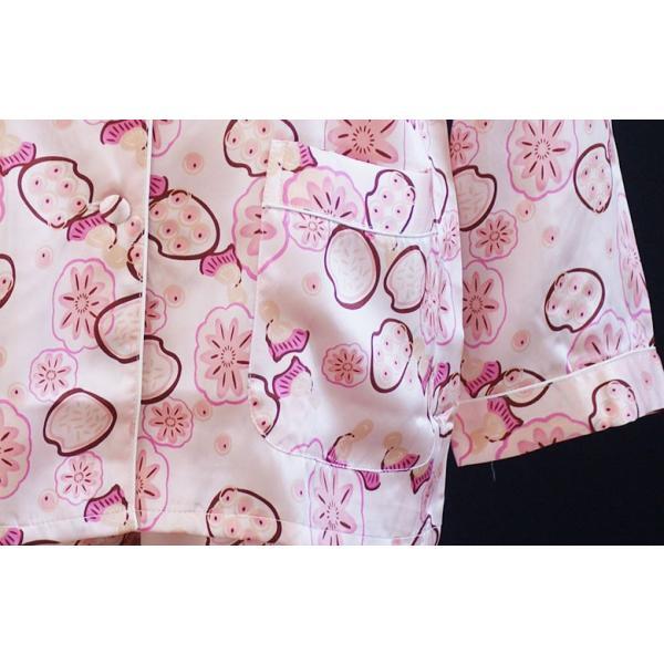 シルクパジャマ 花柄 ピンク シルク100% 絹 長袖 フラワーシャワー レディース 前開き 上下セット 安眠 ナイトウェア ルームウェア 送料無料|yumekairo|09