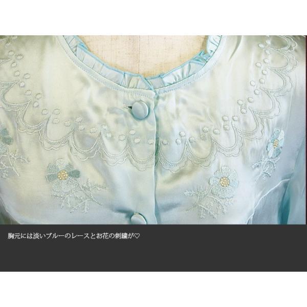 シルクパジャマ 誕生日プレゼント レディース 絹100% 丸首フリル 花柄刺繍 ブルー|yumekairo|05