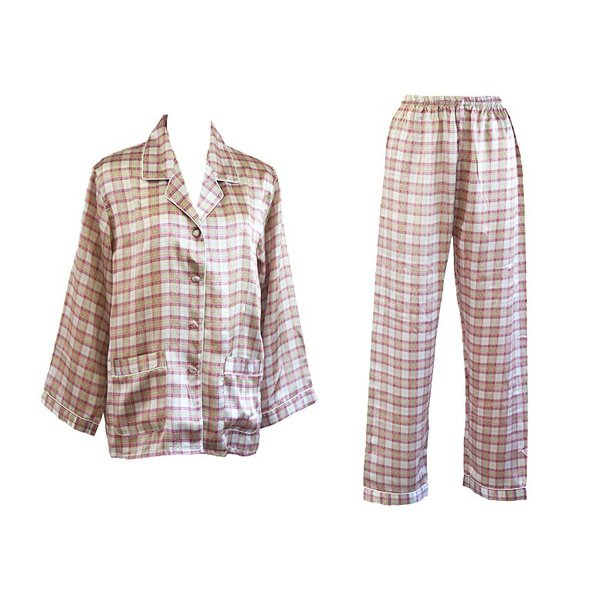 シルク100% レディース シルクパジャマ 絹 長袖 オーバーチェック グレージュ マルチカラー 前開き 上下セット 安眠 ナイトウェア ルームウェア 送料無料|yumekairo|12