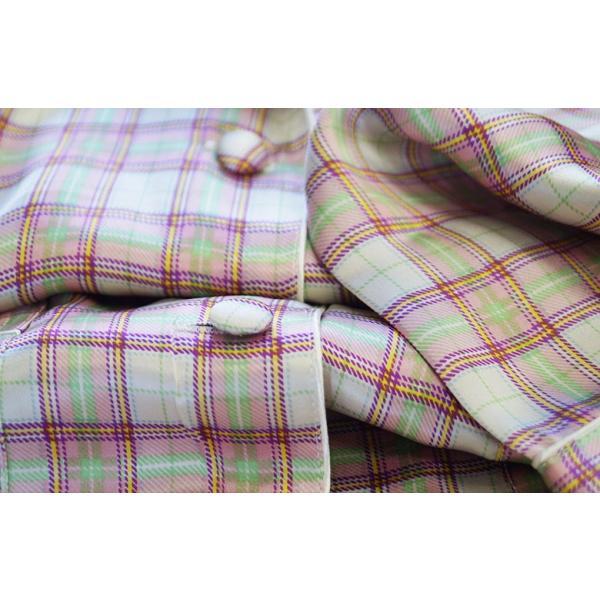 シルク100% レディース シルクパジャマ 絹 長袖 オーバーチェック グレージュ マルチカラー 前開き 上下セット 安眠 ナイトウェア ルームウェア 送料無料|yumekairo|09