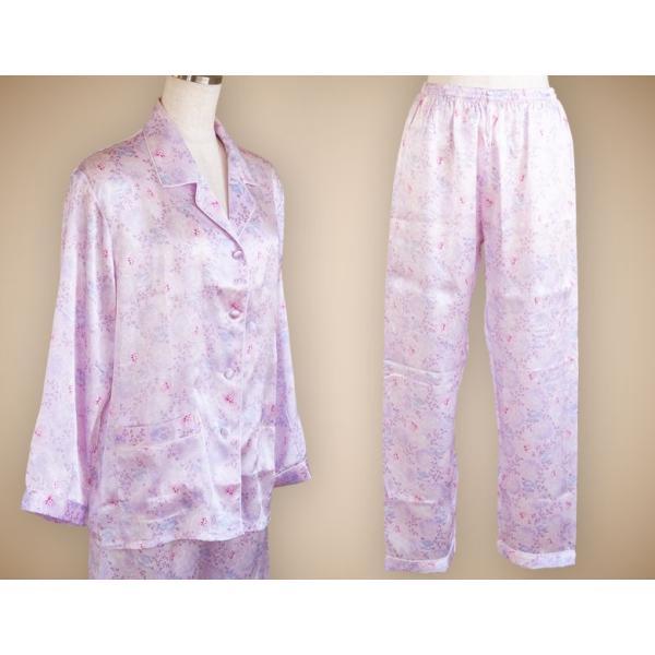 パジャマ レディース シルク100% 高級ブランド ナイトウェア 長袖 前開き 女性用 ペールパープル ピンク系 フラワープリント小柄|yumekairo|10