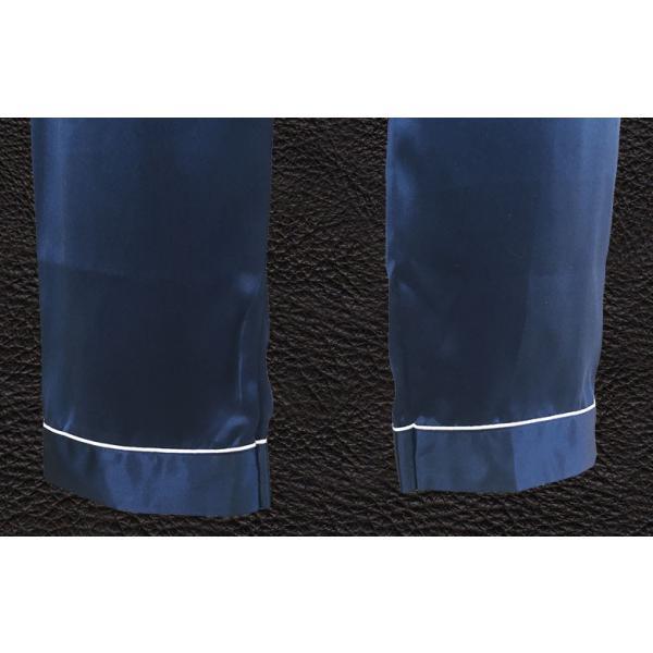 パジャマ レディース シルク シルクパジャマ 絹100% サテン 長袖 前開き インディゴ シンプル 無地 パイピング|yumekairo|12