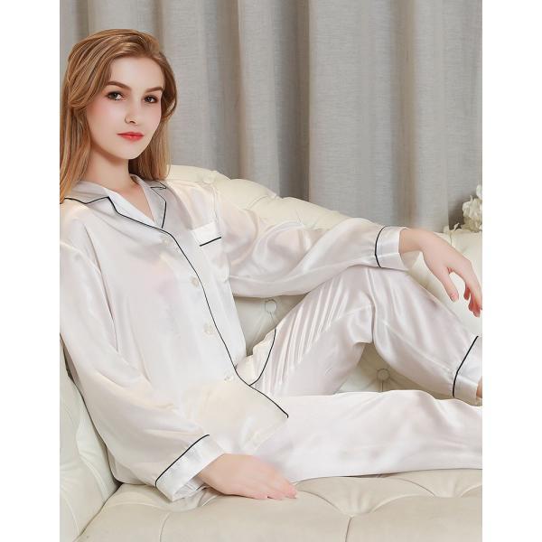 パジャマ レディース シルク シルクパジャマ 絹100% サテン 長袖 前開き ホワイト シンプル 無地 ポケ付き パイピング|yumekairo|02