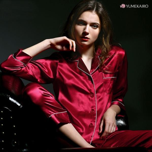 シルク100% パジャマ レディース シルクパジャマ 絹100% サテン バイカラー パイピング 長袖 ダークレッド シンプル 無地 ポケ付き M〜XL 肌に優しい|yumekairo|08