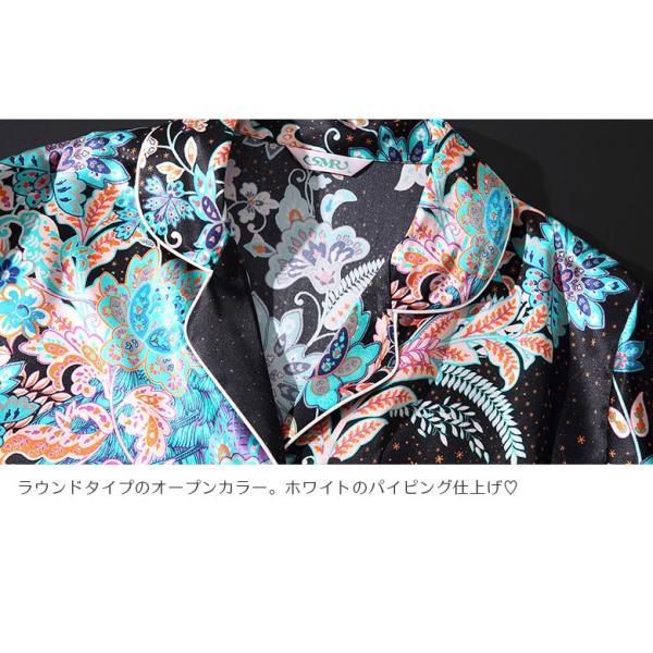 シルク100% パジャマ レディース シルクパジャマ 和柄 和風 絹100% サテン 長袖 オリエンタエル ブラック ポケ付き M〜XL |yumekairo|09