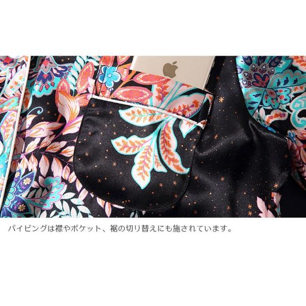 シルク100% パジャマ レディース シルクパジャマ 和柄 和風 絹100% サテン 長袖 オリエンタエル ブラック ポケ付き M〜XL |yumekairo|10