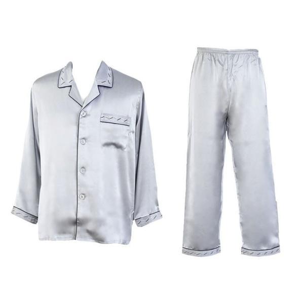 シルク100% シルクパジャマ プラチナシルバー 配色 ボーダー刺繍 長袖 オーナメント メンズ 紳士 絹 上下セット 安眠 ナイトウェア ルームウェア 送料無料|yumekairo|12
