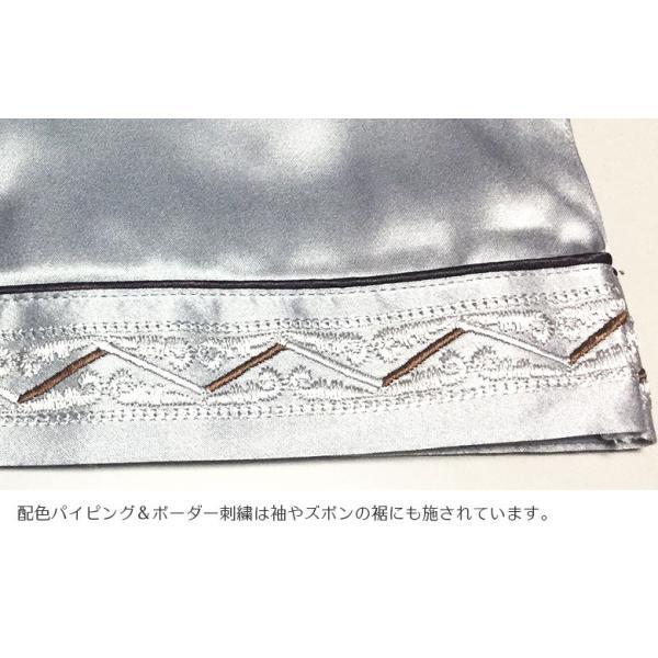 シルク100% シルクパジャマ プラチナシルバー 配色 ボーダー刺繍 長袖 オーナメント メンズ 紳士 絹 上下セット 安眠 ナイトウェア ルームウェア 送料無料|yumekairo|09