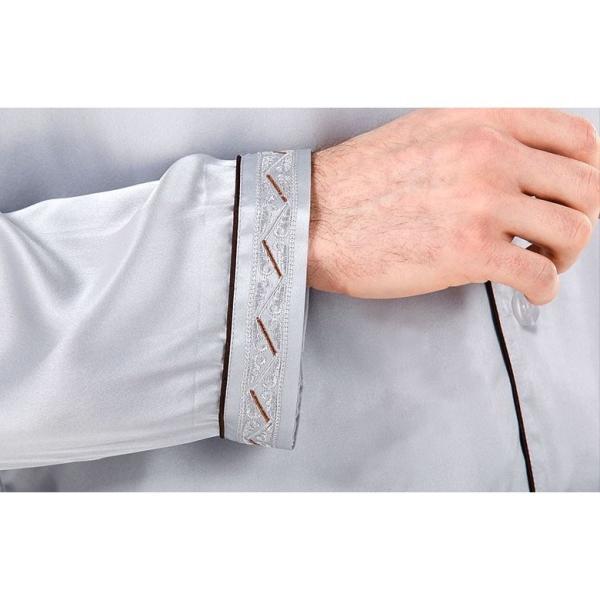 シルク100% シルクパジャマ プラチナシルバー 配色 ボーダー刺繍 長袖 オーナメント メンズ 紳士 絹 上下セット 安眠 ナイトウェア ルームウェア 送料無料|yumekairo|10