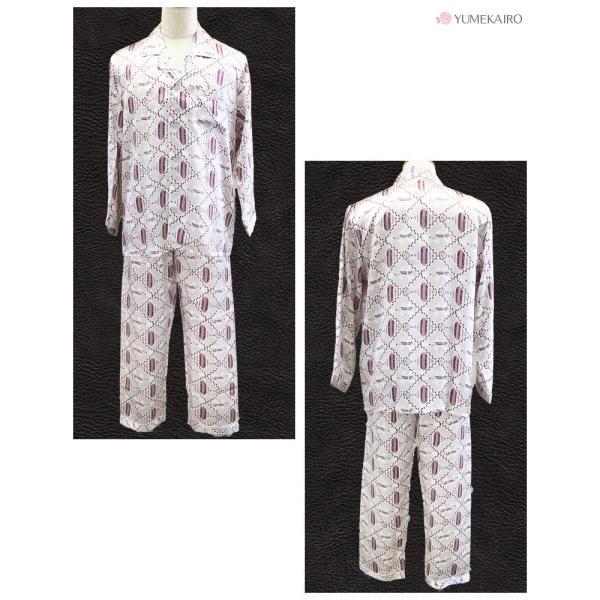シルク100% シルクパジャマ ミックス柄 メンズ ライトグレー エンジ 長袖 紳士 ドット 格子 絹 上下セット 安眠 ナイトウェア ルームウェア 送料無料|yumekairo|07