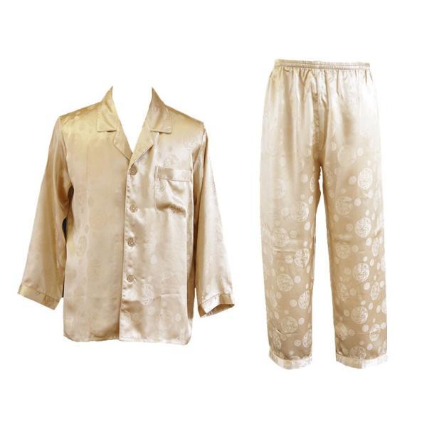 シルク100% ジャガード シルクパジャマ シャンパンゴールド サテン 長袖 チャイナ ロゴ メンズ 紳士 絹 上下セット 安眠 ナイトウェア ルームウェア 送料無料 yumekairo 12