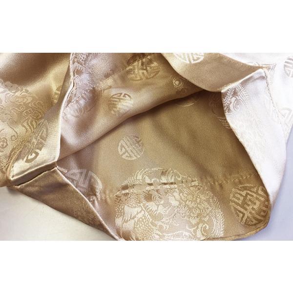 シルク100% ジャガード シルクパジャマ シャンパンゴールド サテン 長袖 チャイナ ロゴ メンズ 紳士 絹 上下セット 安眠 ナイトウェア ルームウェア 送料無料|yumekairo|10