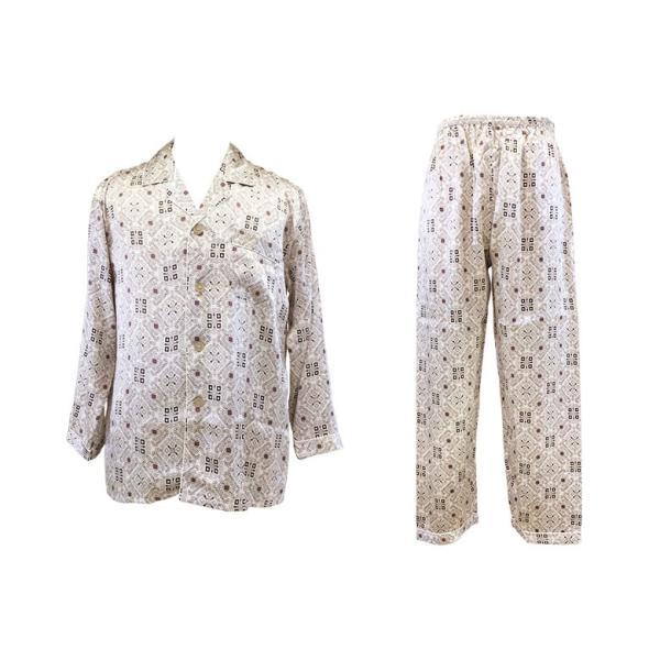 シルク100% シルクパジャマ オーナメント柄 メンズ グレージュ ブラウン 長袖 紳士 アラベスク 絹 上下セット 安眠 ナイトウェア ルームウェア 送料無料|yumekairo|12