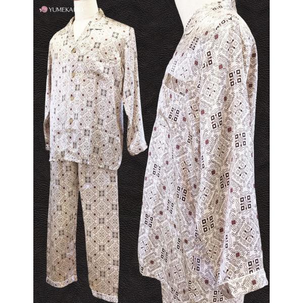 シルク100% シルクパジャマ オーナメント柄 メンズ グレージュ ブラウン 長袖 紳士 アラベスク 絹 上下セット 安眠 ナイトウェア ルームウェア 送料無料|yumekairo|04