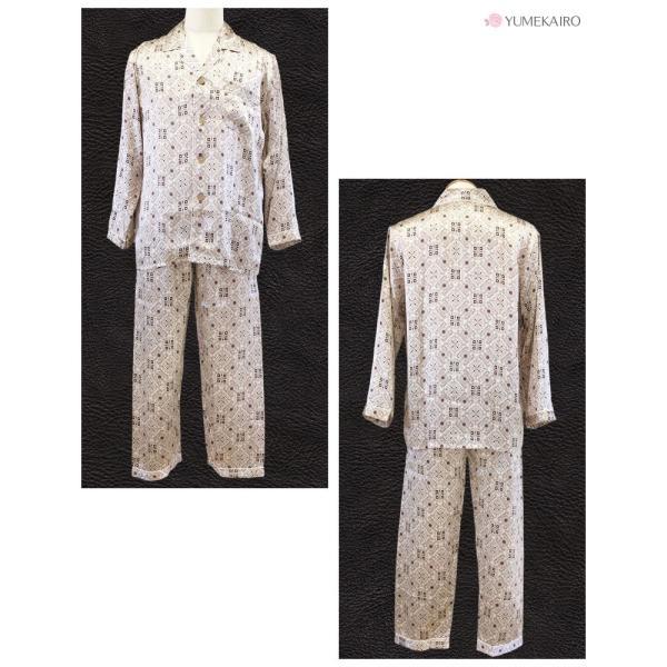 シルク100% シルクパジャマ オーナメント柄 メンズ グレージュ ブラウン 長袖 紳士 アラベスク 絹 上下セット 安眠 ナイトウェア ルームウェア 送料無料|yumekairo|07