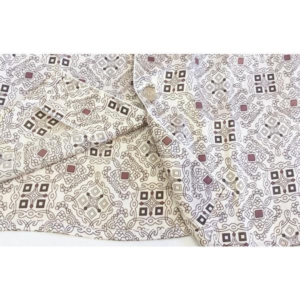 シルク100% シルクパジャマ オーナメント柄 メンズ グレージュ ブラウン 長袖 紳士 アラベスク 絹 上下セット 安眠 ナイトウェア ルームウェア 送料無料|yumekairo|09