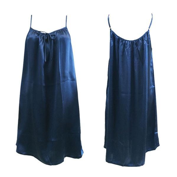 スリップ ドレスインナー サテン インナー ネグリジェ ナイトウェア 胸元ギャザー シルク100% シルクスリップ フリーサイズ 3色 メール便 送料無料|yumekairo|18