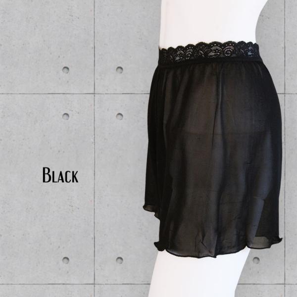 ペチコートパンツ シルク100% ウエストレース付き ストレッチ生地 黒 白 カラバリ2色 ミニスカートやワンピのインナーに メール便 送料無料|yumekairo|06