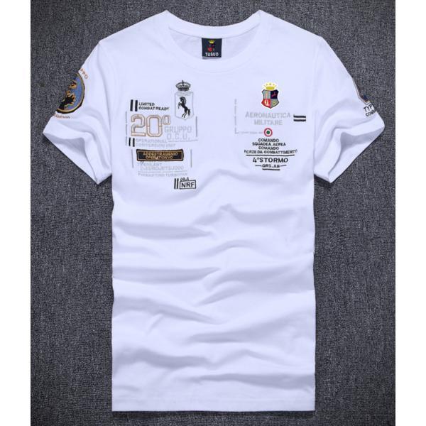Tシャツ メンズ アメカジ 半袖 刺繍Tシャツ ロゴT カットソー クルーネック メンズTシャツ|yumekakaku|02