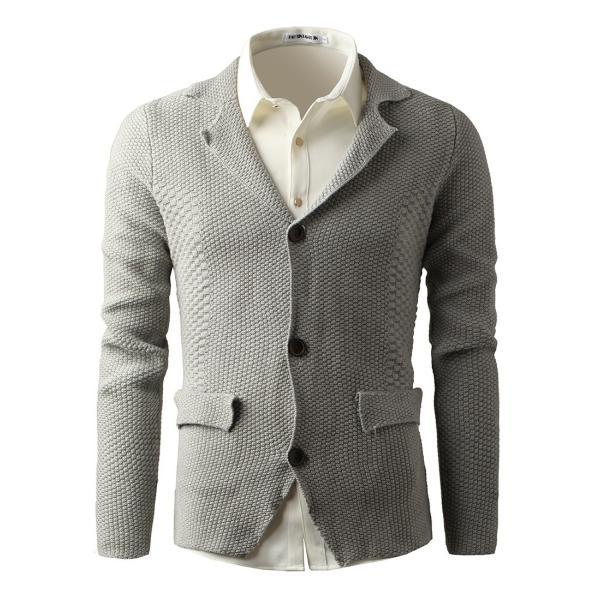 メンズ ニット、セーター カーディガン 長袖 無地 開襟 カジュアル ロングスリーブ トップス 大人の風合い 美シルエット|yumekakaku