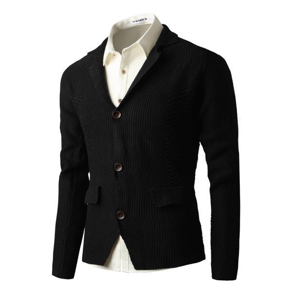 メンズ ニット、セーター カーディガン 長袖 無地 開襟 カジュアル ロングスリーブ トップス 大人の風合い 美シルエット|yumekakaku|05