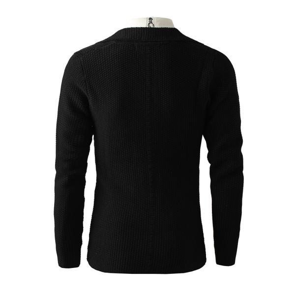 メンズ ニット、セーター カーディガン 長袖 無地 開襟 カジュアル ロングスリーブ トップス 大人の風合い 美シルエット|yumekakaku|06