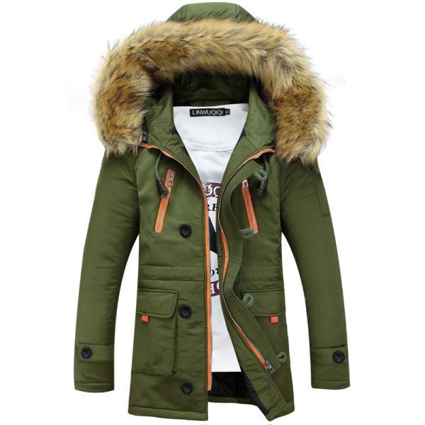 メンズ 中綿ダウンジャケット コート 中棉 ジャケット 毛皮 無地 ファッション スリム|yumekakaku|04