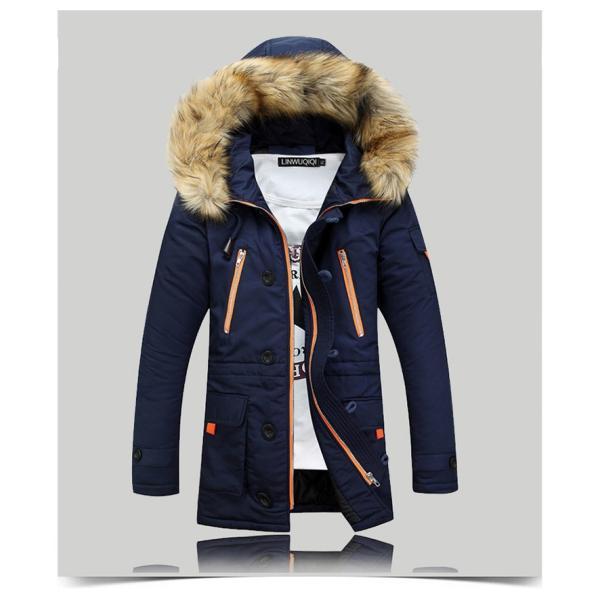 メンズ 中綿ダウンジャケット コート 中棉 ジャケット 毛皮 無地 ファッション スリム|yumekakaku|05