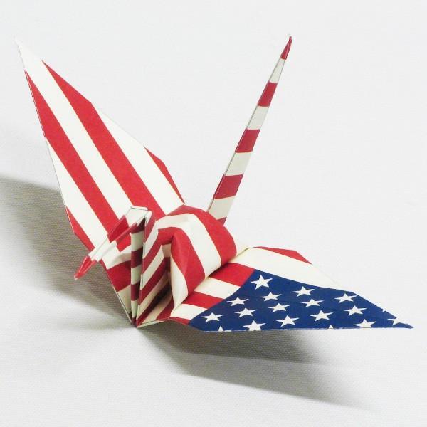 【アメリカ】 国旗折り鶴 折り紙おりがみ おりづる 国旗のデザイン 計50枚 ギフト 留学 お土産 伝統 紹介 知育玩具|yumenetshop