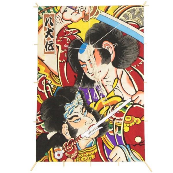 インテリア 手描き 和凧 新特大角凧 縦80×横55cm ワ-3リ 歌舞伎絵 八犬伝