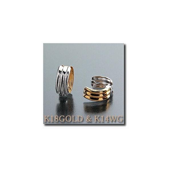 ピアリング 耳が痛くなりにくい ピアス風 イヤリング リバーシブル 小さいシンプル波型タイプ K18(ゴールド) &K14WG(ホワイトゴールド)|yumesse|02