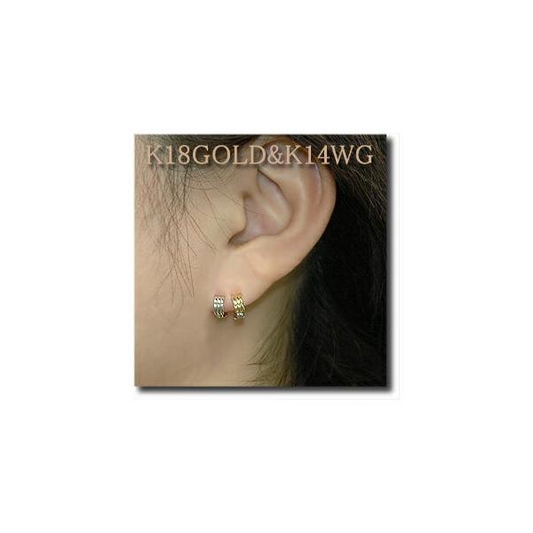 ピアリング 耳が痛くなりにくい ピアス風 イヤリング リバーシブル 小さいシンプル波型タイプ K18(ゴールド) &K14WG(ホワイトゴールド)|yumesse|03