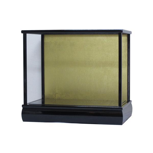 人形ケース229 間口37×奥行22.5×高さ29cm(ケース内寸) 黒桑塗り ガラスケース 木製 カブセタイプ 五月人形