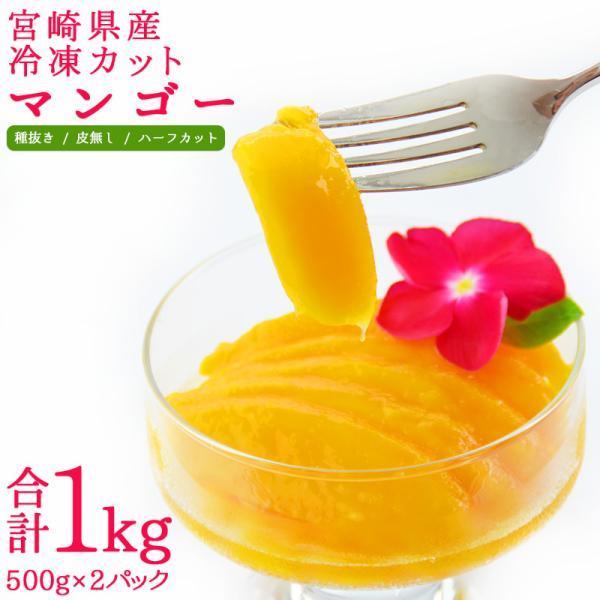 贅沢・国産<宮崎県産冷凍カットマンゴー1kg> 500g×2パック 濃厚