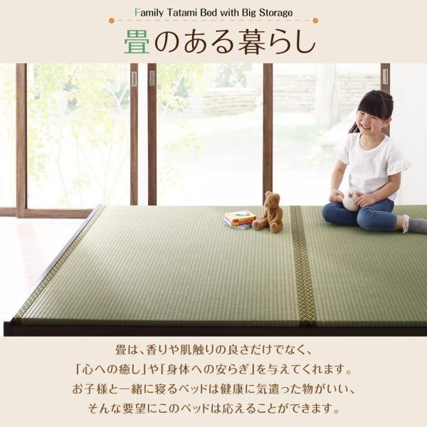 組立設置付 日本製?布団が収納できる大容量収納畳連結ベッド 陽葵 ひまり ベッドフレームのみ 美草畳 ワイドK240(SD×2) 42cm(代引不可)|yumugiya|02