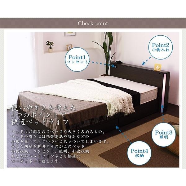 棚W照明コンセント引出付デザインベッド シングル 圧縮ロールポケットコイルマットレス付 S(代引不可)|yumugiya|02