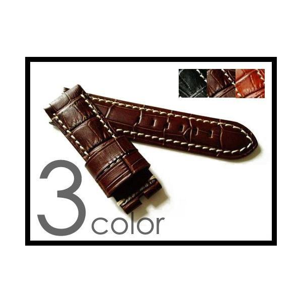 「パネライPANERAI向け」輸入王オリジナルベルト47mmケースBAバックル用型押しクロコ社外品メンズ腕時計用