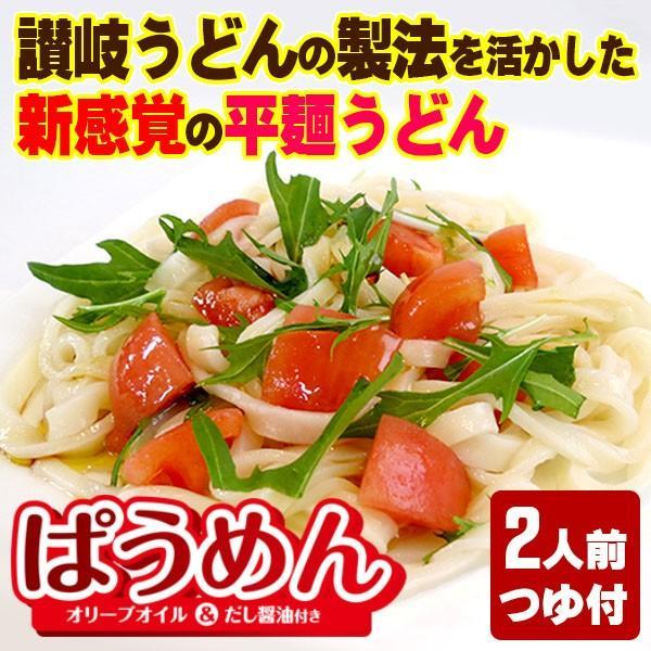 讃岐うどん 半生 平麺 ぱうめん 2人前 つゆ付|yurakuya-udon
