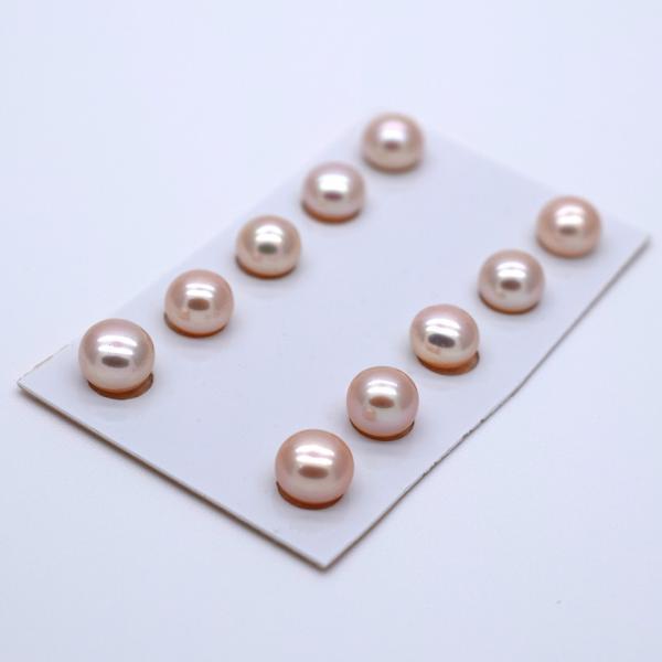 片穴 淡水パール 6mm ペア 2粒 ボタン フラット ピンクオレンジ系 本真珠 ルース パーツ ビーズ ポイント消化|yusa-jewelry|02