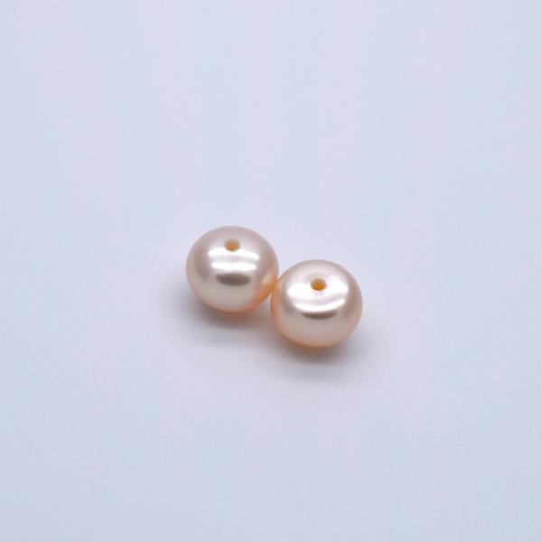 片穴 淡水パール 6mm ペア 2粒 ボタン フラット ピンクオレンジ系 本真珠 ルース パーツ ビーズ ポイント消化|yusa-jewelry|05