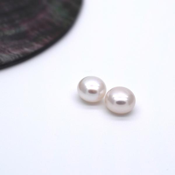片穴 淡水パール 6mm ペア 2粒 ボタン フラット ホワイト系 本真珠 ルース パーツ ビーズ ポイント消化|yusa-jewelry