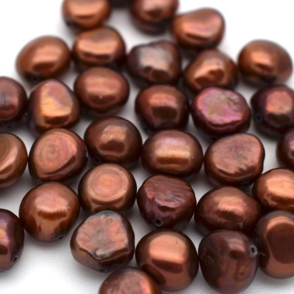 淡水パール バロック ボタン 中粒 パーツ 素材 真珠 チョコレートカラー ブラウン系 1粒 6~8mm|yusa-jewelry