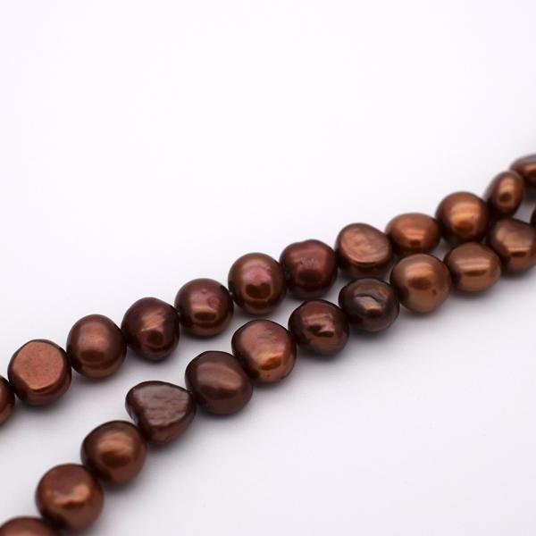 淡水パール バロック ボタン 中粒 パーツ 素材 真珠 チョコレートカラー ブラウン系 1粒 6~8mm|yusa-jewelry|03