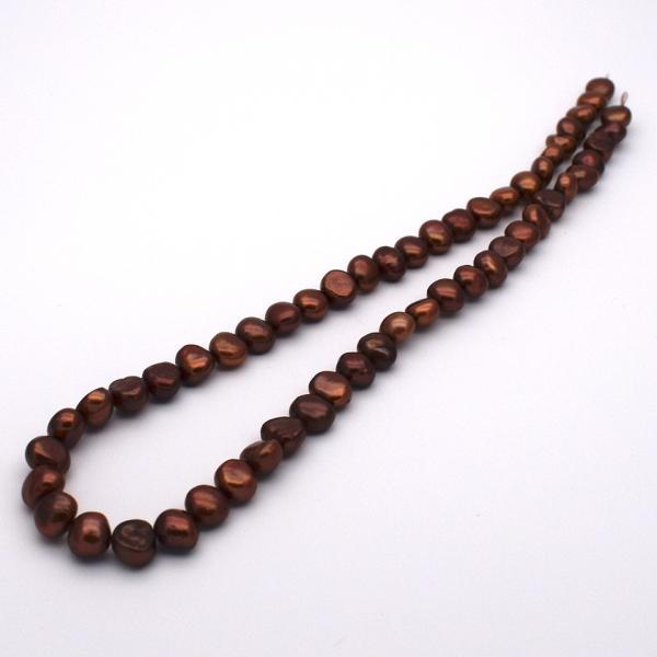 淡水パール バロック ボタン 中粒 パーツ 素材 真珠 チョコレートカラー ブラウン系 1粒 6~8mm|yusa-jewelry|04