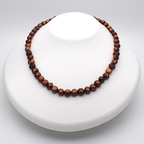 淡水パール バロック ボタン 中粒 パーツ 素材 真珠 チョコレートカラー ブラウン系 1粒 6~8mm|yusa-jewelry|05